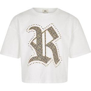 Wit familie-T-shirt met RI-logo voor meisjes