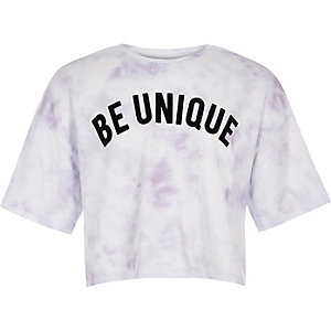 Girls white tie dye print T-shirt