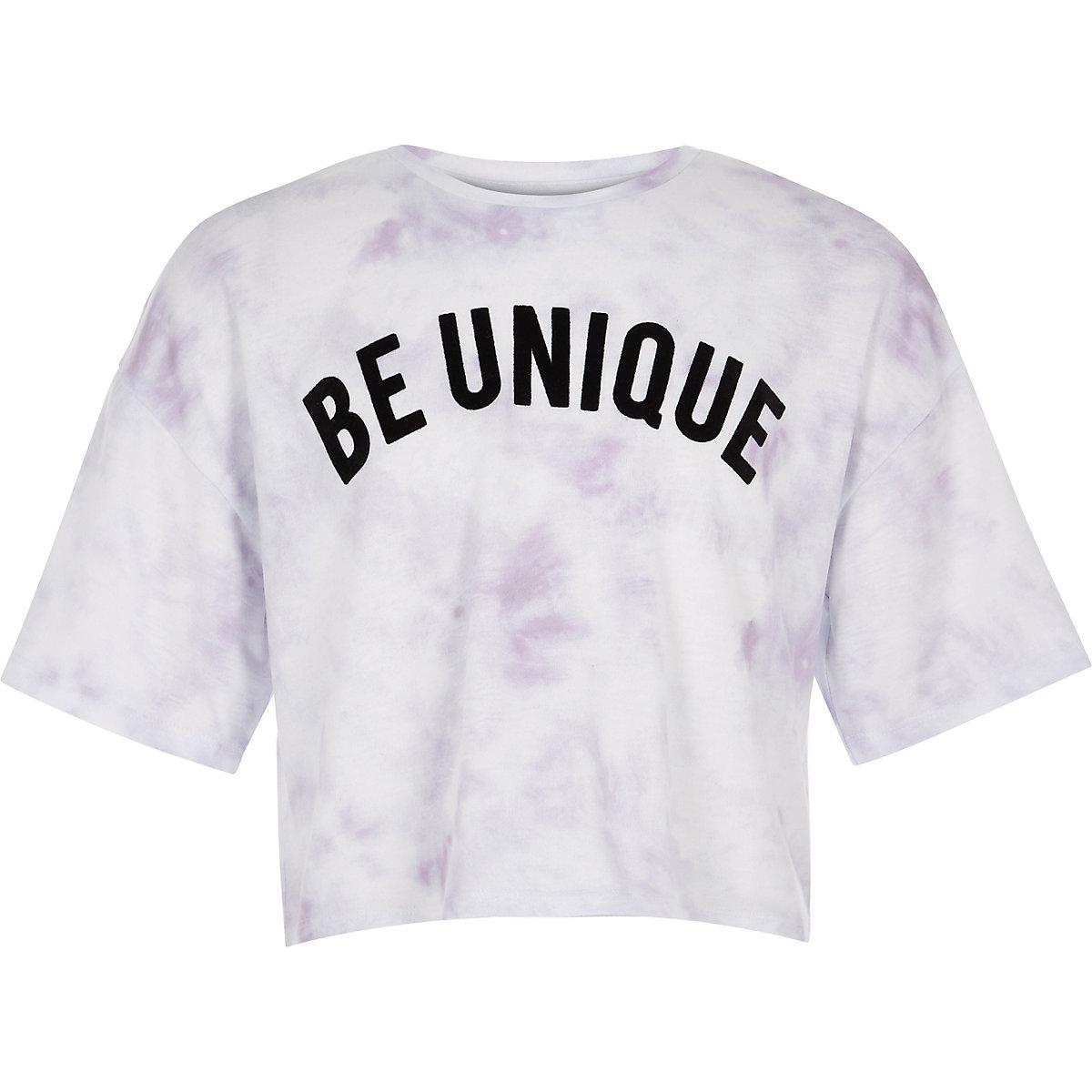 Girls white tie dye print T-shirt