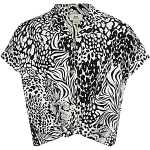 Girls black monochrome animal print shirt