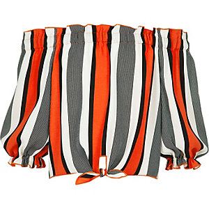 Girls red stripe bardot tie front top