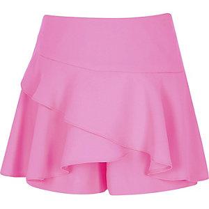 Girls neon pink frill skort