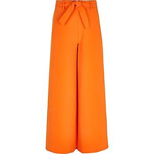Pantalon large orange noué à la taille pour fille