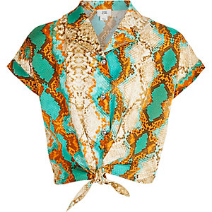 Girls green snake print tie front shirt
