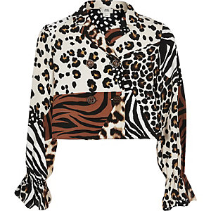 Girls brown splice animal print blouse