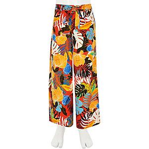 Pantalon large à imprimé tropical orange pour fille