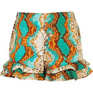 Girls turquoise snake print frill shorts