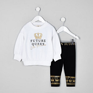 Mini girls white foil print sweater outfit