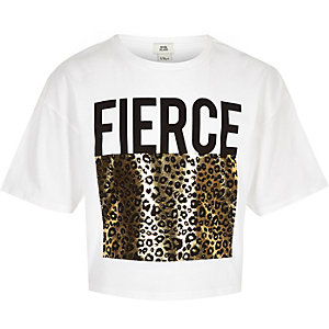 T-shirt imprimé léopard métallisé blanc pour fille