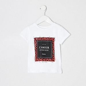 Mini - Wit T-shirt met neon dierenprint voor meisjes
