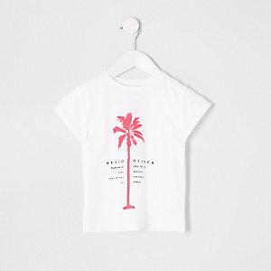 T-shirt à imprimé palmier fluo blanc pour mini fille