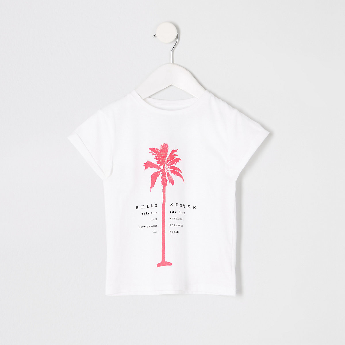 Mini girls white palm neon print T-shirt