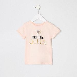 Mini - Roze T-shirt met 'Bee the Queen'-print voor meisjes