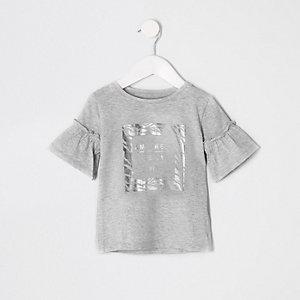 Mini girls grey zebra foil print T-shirt