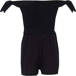 Schwarzer Bardot-Bodysuit