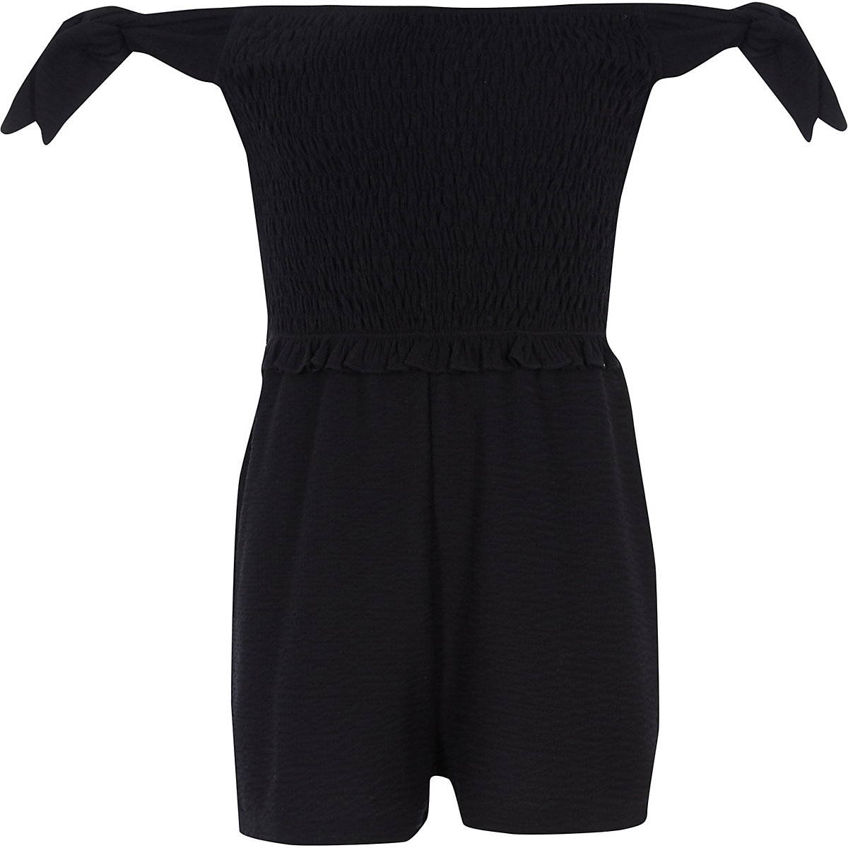 Girls black shirred bardot playsuit