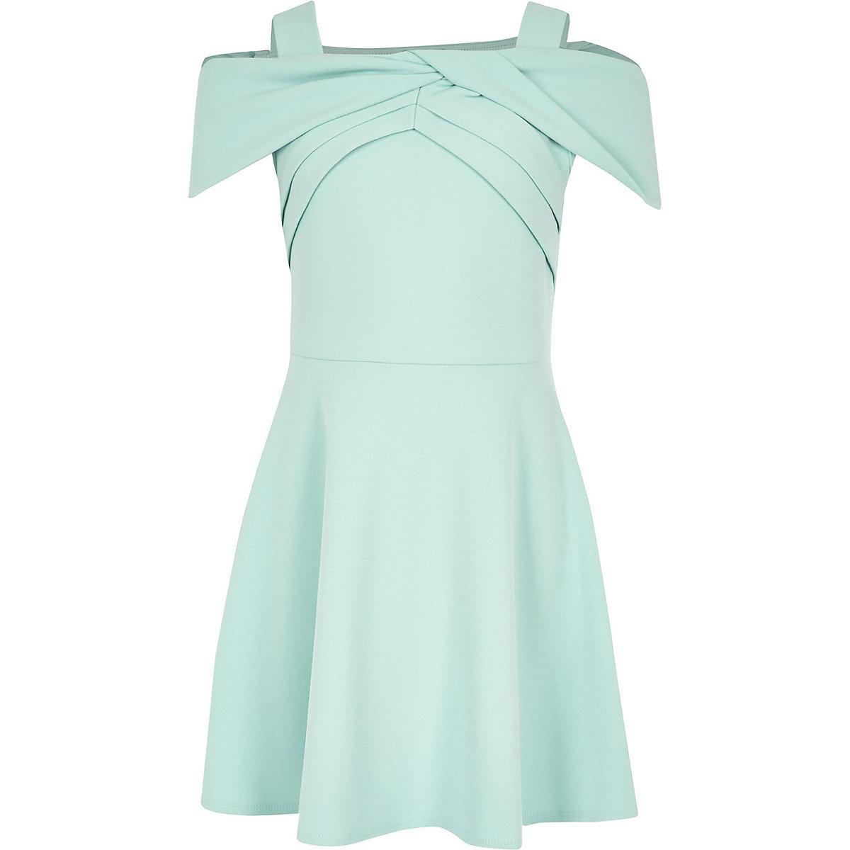 Girls green bow bardot skater dress