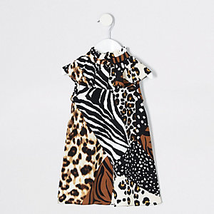Mini girls brown splice animal print dress