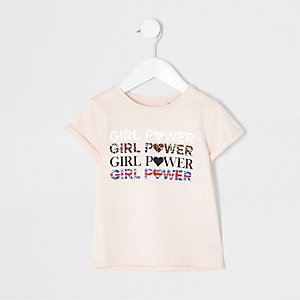 Mini - Roze T-shirt met 'girls power'-print voor meisjes