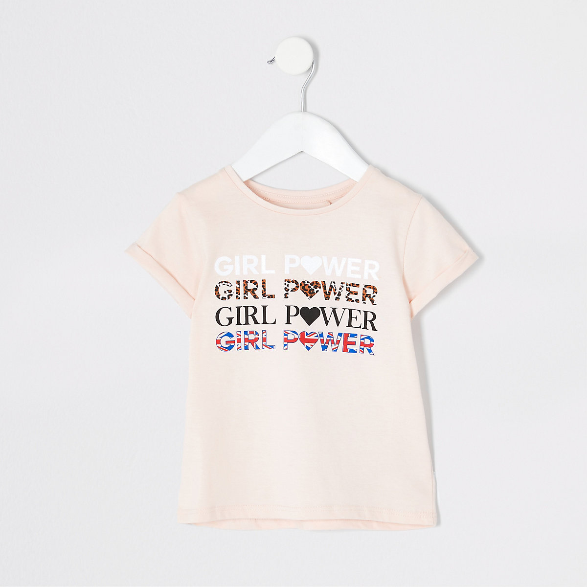 Mini girls pink 'girls power' T-shirt
