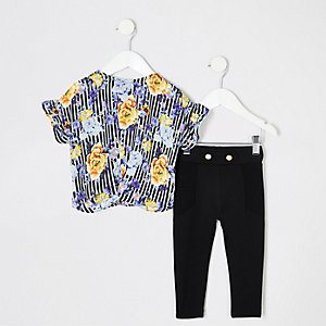 Mini girls black stripe floral T-shirt outfit