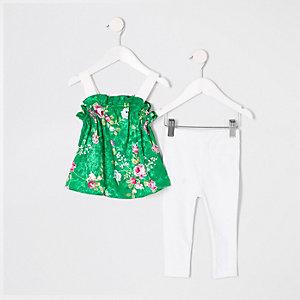 Ensemble avec caraco à fleurs vert pour mini fille