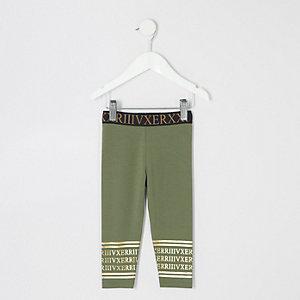 Mini girls khaki printed waistband leggings