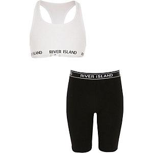 Outfit met witte racertop en wielrenshort voor meisjes