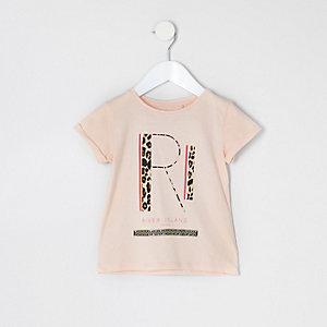 T-shirt rose avec logo RI à imprimé léopard pour mini fille