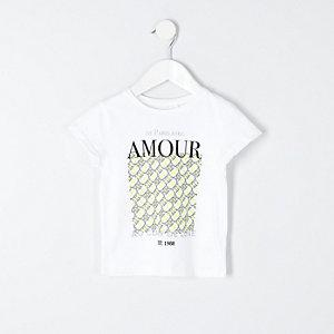 Weißes T-Shirt mit RI-Print in Neonfarben