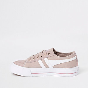 Girls Gola pink lace-up plimsolls