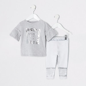 Mini girls grey zebra print legging outfit