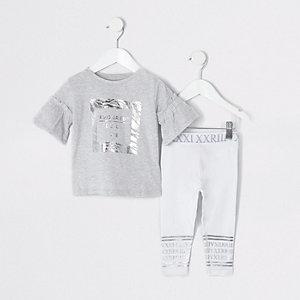 Mini - Grijze leggingoutfit met zebraprint voor meisjes