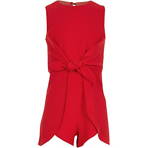 Girls red knot front romper