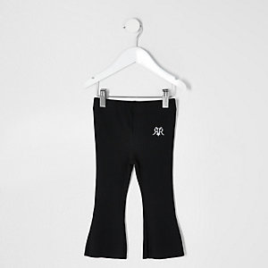 Mini girls black kick flare trousers