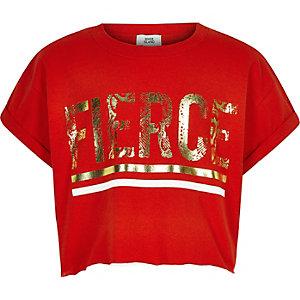 T-shirt «Fierce» rouge pour fille