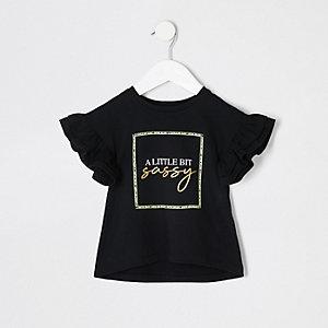 Mini - T-shirt met 'a little bit sassy'-print voor meisjes