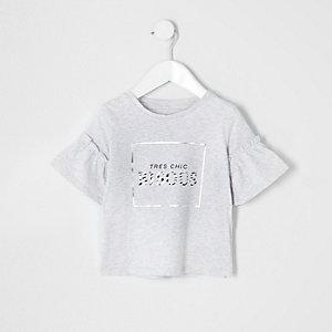 Mini girls grey 'bisous' frill T-shirt