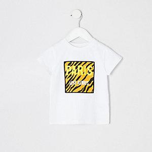 T-shirt blanc motif tigre «Paris» mini fille