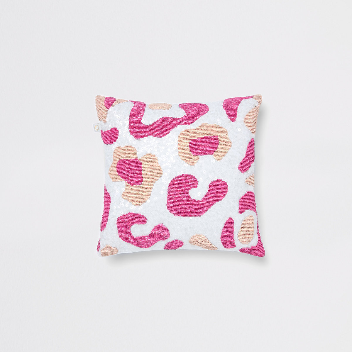 Pink and white leopard beaded cushion