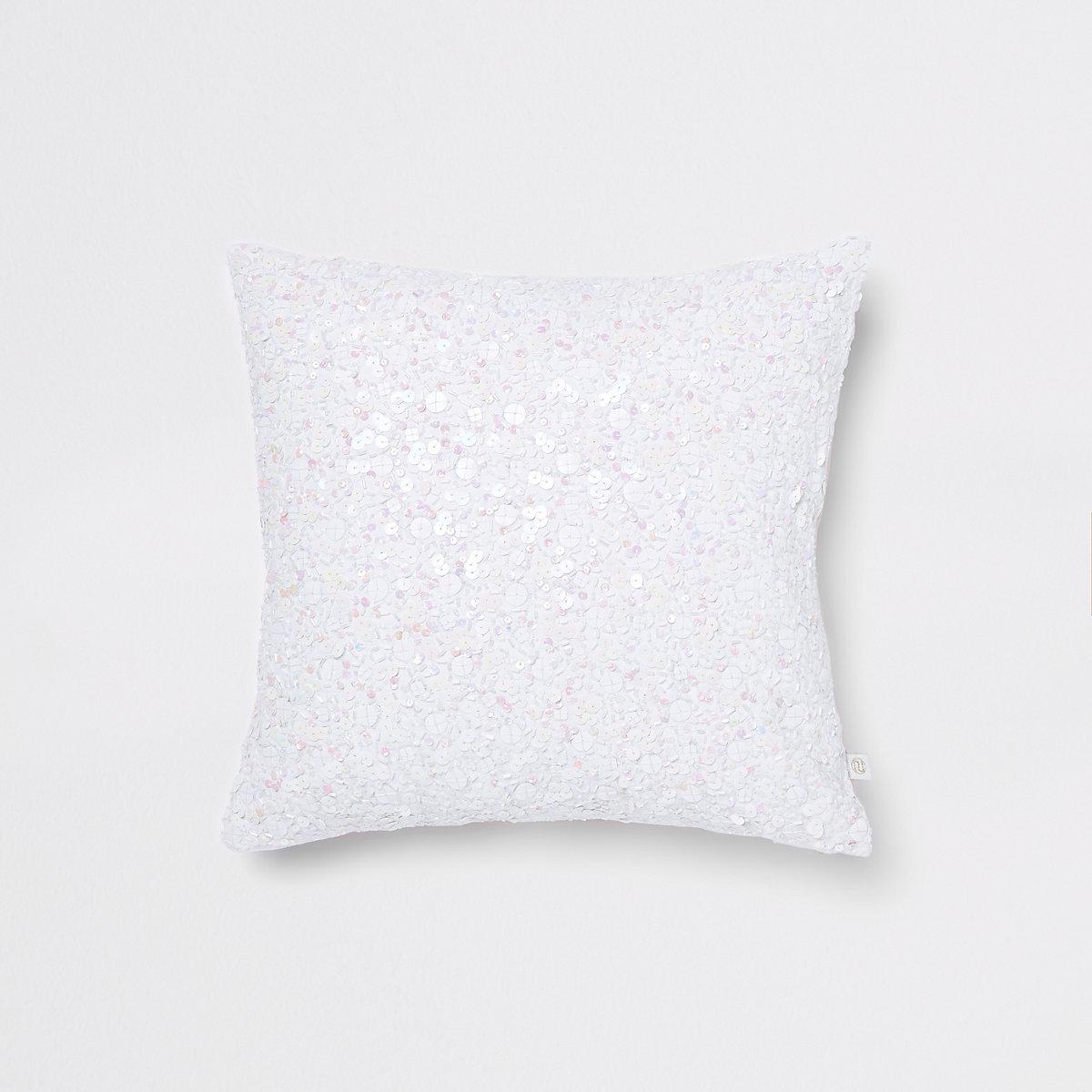 White sequin cushion