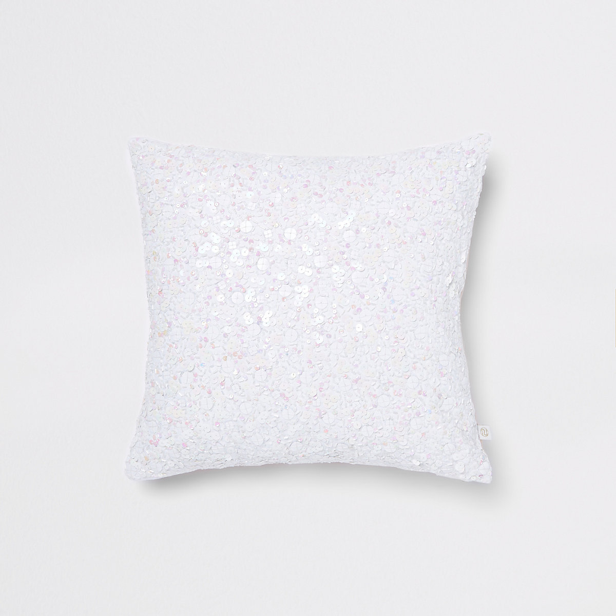 White sequin cushion