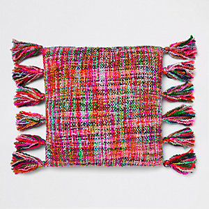 Multicolour knitted cushion with tassels