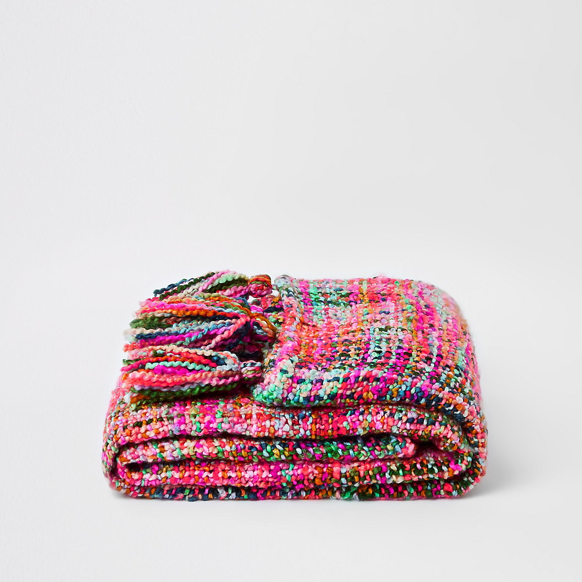 Multicolour knit throw with tassels