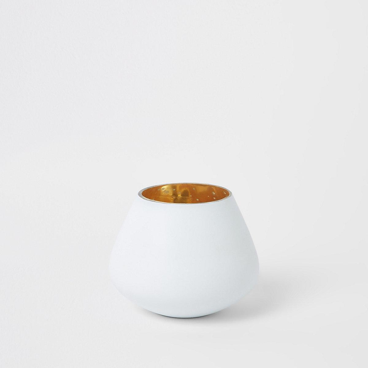 Petit bougeoir chauffe-plat blanc mat