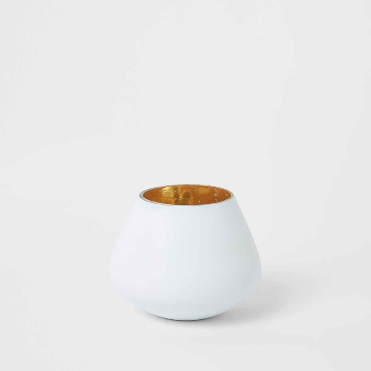 Small white matte tealight candle holder