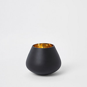 Small black matte tealight candle holder