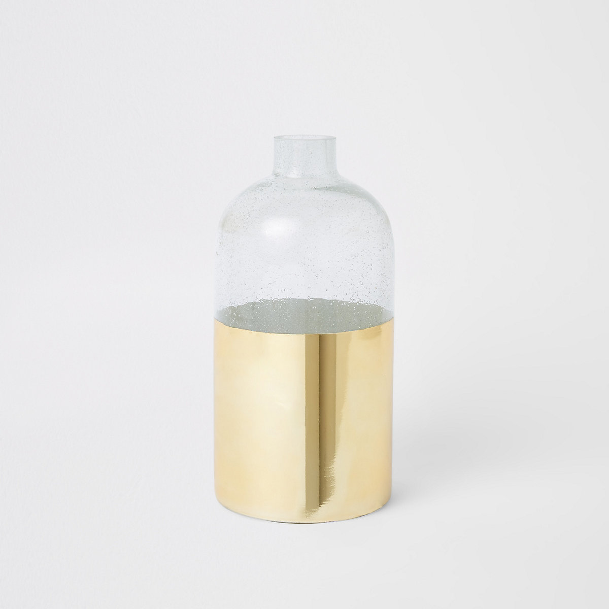 Gold and clear bubble vase