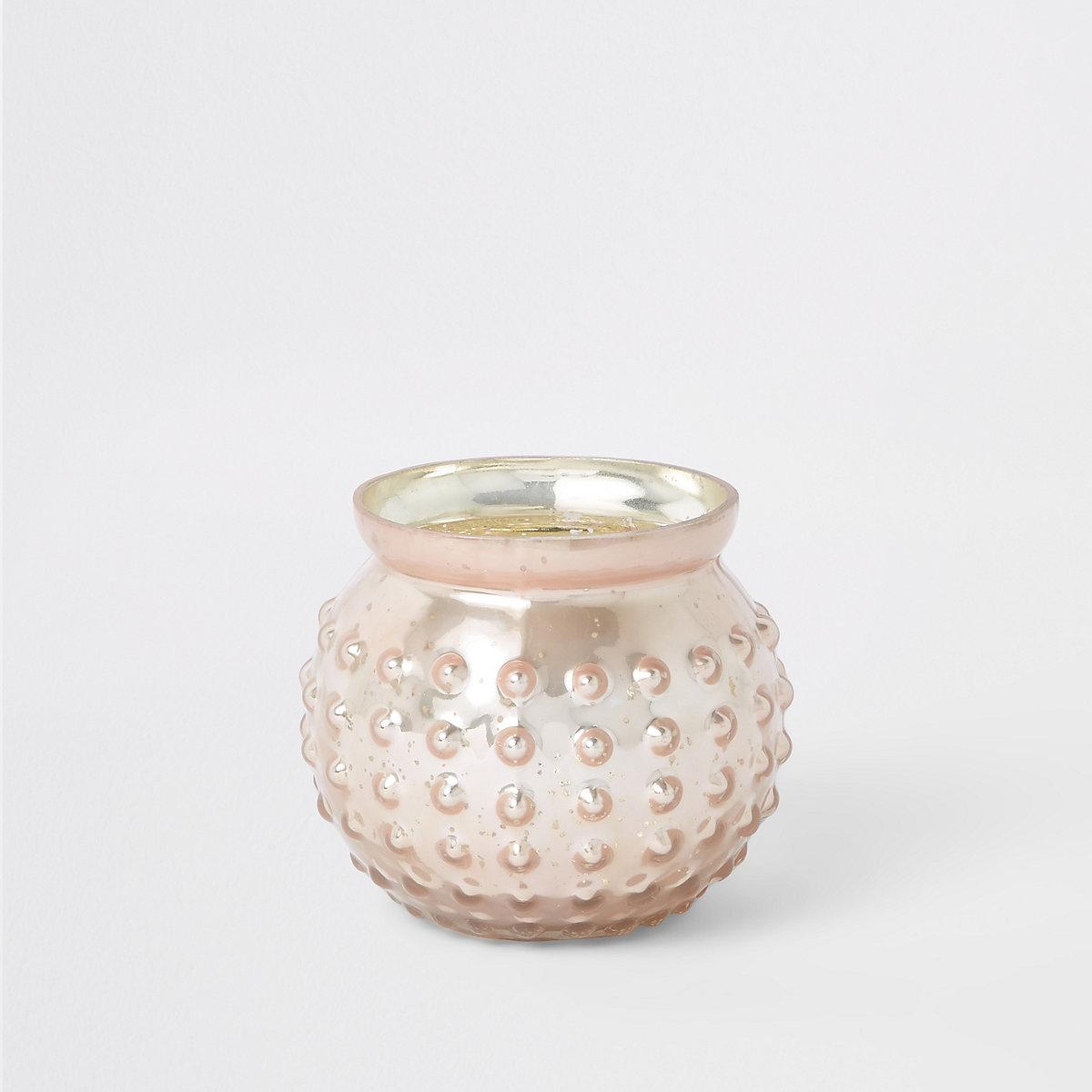 Bougeoir chauffe-plat en verre effet mercure rose