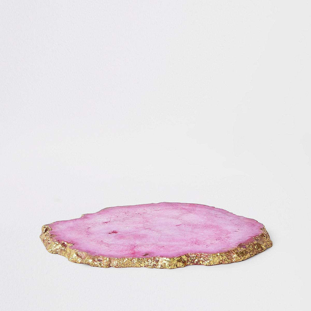 Pink agate coaster